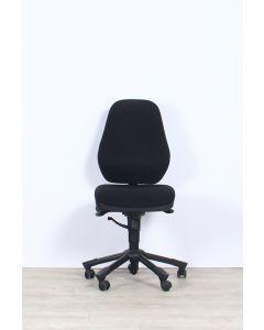 Interstuhl Leanos 1L52 bureaustoel, zwart gestoffeerd, hoge rug. zonder armleuningen, met luxe luchtlendepompsteun!