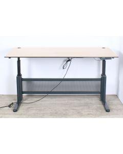 Lensvelt elektrisch zit/sta bureau, 180x80 cm, NPR-1813, L-poot, antraciet onderstel, donker beuken blad, inclusief kabelmanagement