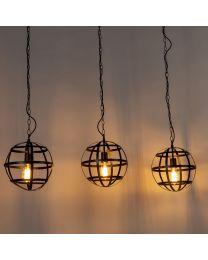 Metalen bollen hanglamp, 3 lichtpunten, zwart, Ø30cm