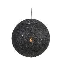 Gevlochten bol hanglamp, zwart, Ø60cm