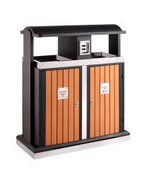 Buitenafvalbak, scheidingsstation 2x 50 liter