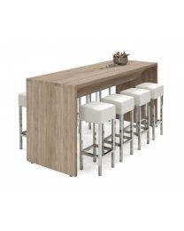 Houten bartafel van 110 cm hoog, 220 x 80 cm