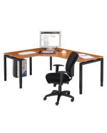 Hoek N-poot bureau, 200 x 160 cm, hoogte instelbaar