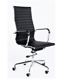 TrendZ direct met hoge rug, verrijdbaar, in zwart of wit kunstleder
