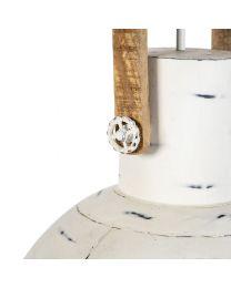 Industriële fabrieks hanglamp, wit met hout
