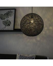 Gevlochten bol hanglamp, zwart, Ø45cm