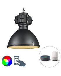 Industriële hanglamp, smartoffice, Ø53cm zwart, incl. A60 Wifi