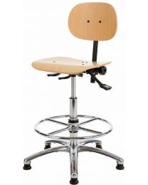 Werkstoel HL267, beuken hout en chrome, met voetensteun