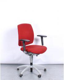 Drabert Entrada bureaustoel, NPR1813, ovale armpad, rood gestoffeerd, aluminium voetkruis