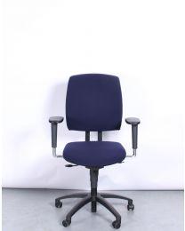 Drabert Entrada bureaustoel, NPR1813, ovale armpad, blauw gestoffeerd, zwart voetkruis