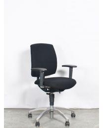 Drabert Entrada bureaustoel, NPR1813, ovale armpad, zwart gestoffeerd, verchroomd voetkruis