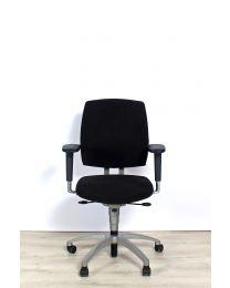 Drabert Entrada bureaustoel, NPR1813, ovale armpad, zwart gestoffeerd, aluminium voetkruis