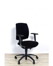 Drabert Entrada bureaustoel, NPR1813, ovale armpad, zwart gestoffeerd, zwart voetkruis