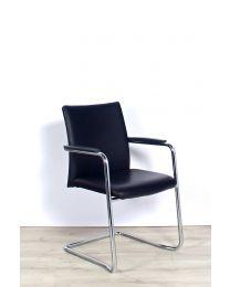 Haworth Comforto 5588S sledestoel, stapelbaar, 100% leder, gepolijst frame