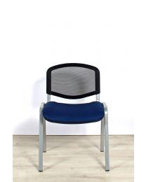 ISO MESH vergaderstoel, stapelbaar, blauw met aluminium