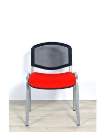 ISO MESH vergaderstoel, stapelbaar, rood met aluminium
