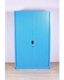 Samas roldeurkast, blauw/lichtgrijs, hoog model, 195 x 120 cm, inclusief 4 legborden