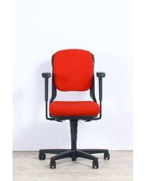 Ahrend 230 bureaustoel, EN1335, lage rug, rood gestoffeerd