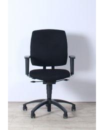 Drabert Entrada bureaustoel, NPR1813, smalle armpad, nieuwe zwarte stof, zwart voetkruis
