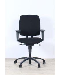 Drabert Entrada bureaustoel, NPR1813, ovale armpad, nieuwe zwarte stof, zwart voetkruis