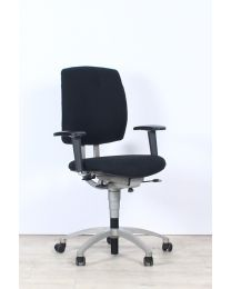 Drabert Entrada bureaustoel, NPR1813, ovale armpad, nieuwe zwarte stof, aluminium voetkruis