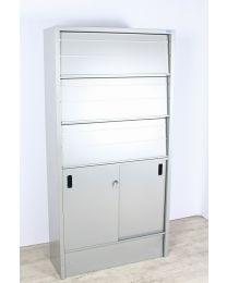 Overtoom folderkast, hoog model, aluminium, 198 x 98 x 35 cm, 4 legborden, inclusief sleutel!