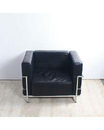 **REPLICA** Cassina LC3 design fauteuil, zwarte lederen bekleding
