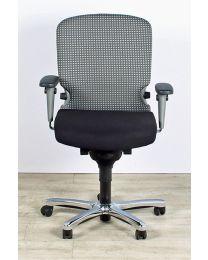 Haworth Comforto 77 bureaustoel, tempur zitting, NPR1813, zwart-wit geblokte stoffering
