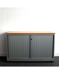 Ahrend roldeurkast, laag model, 75 x 120 cm, aluminium/beuken, inclusief 1 legbord
