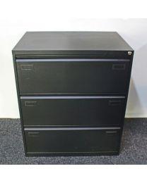 Dossierlade kast, dubbelzijdig model met 3 laden, zwart gelakt