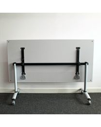 Verrijdbare, opklapbare vergadertafel, 160 x 80 cm, aluminium met lichtgrijs blad
