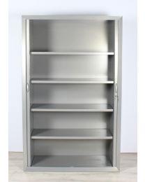 Pro-office roldeurkast, aluminium, hoog model, 198x125x45 cm, inclusief 4 legborden