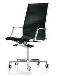 Luxy Nulite Ribbed directie bureaustoel, ergonomische vormgeving, leder
