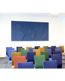 Akoestisch schilderij world map, 120x160x5 cm, geluidsabsorberend