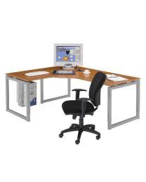 Hoek RING-poot bureau, 200 x 160 cm, hoogte instelbaar