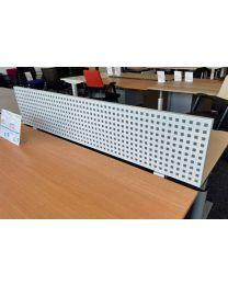 Scheidingswand met bladklemmen, voorzien van geluidsabsorberende vulling, 160x33x2,5 cm, aluminium