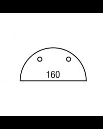 Halfrond blad, 160 x 80 cm