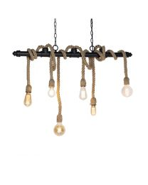 Industriële touwen hanglamp, 6 lichtpunten